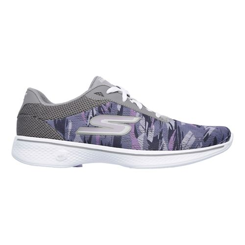 Womens Skechers GO Walk 4 - Motion Casual Shoe - Grey/Purple 7.5