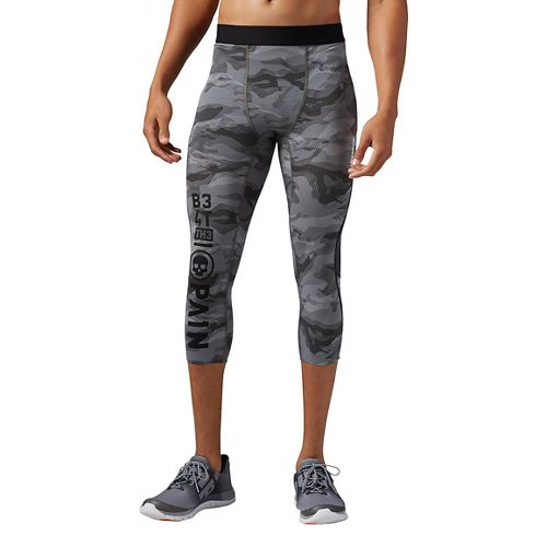 Mens Reebok One Series Elite Quick Cotton 3/4 Tight Compression & Fitted Pants - Coal ...