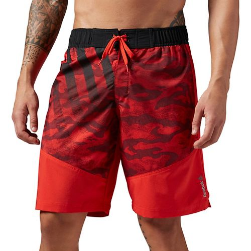 Mens Reebok Work Out Ready Graphic Board Unlined Shorts - Red S