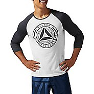 Mens Reebok Badge Baseball Tee Long Sleeve Non-Technical Tops