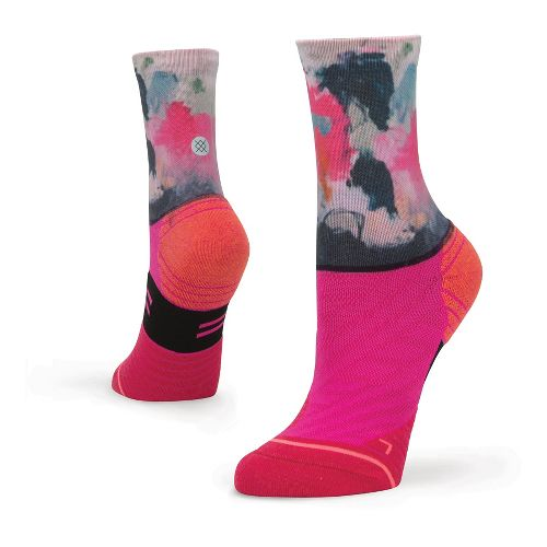 Womiens Stance Fusion Run Painted Crew Socks - Pink M