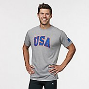 Mens R-Gear USA Graphic Tee Short Sleeve Technical Tops - Heather Grey S