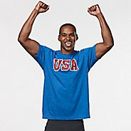 Mens R-Gear USA Graphic Tee Short Sleeve Technical Tops - Heather Royal S