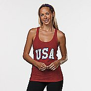 Womens R-Gear USA Graphic Sleeveless & Tank Technical Tops - Heather Red L