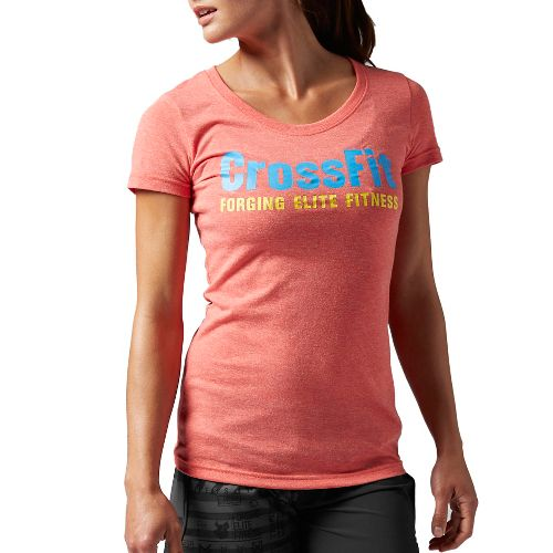 Womens Reebok CrossFit Graphic Crew F.E.F. Short Sleeve Technical Tops - Laser Red M
