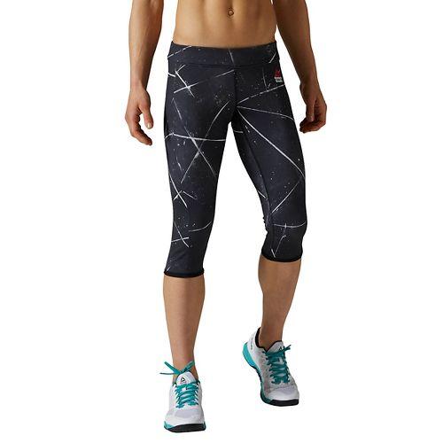 Womens Reebok CrossFit Reversible Chase Capri Tights & Leggings Pants - Black XS