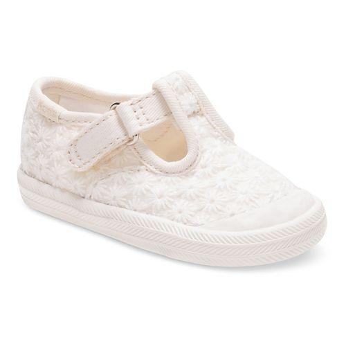 Keds Champion Toe Cap T-Strap Fashion Walking Shoe - Ivory Eyelet 4C