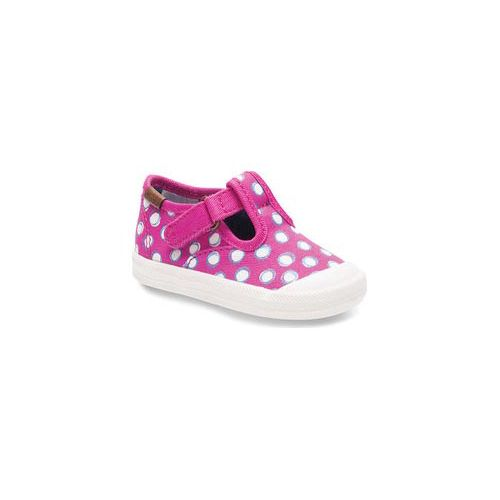 Kids Keds Champion Toe Cap T-Strap Fashion Infant/Toddler Walking Shoe - Fuchsia Dots 2C