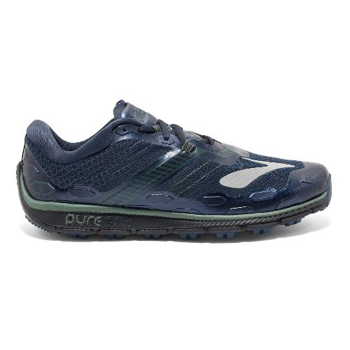 Mens Brooks PureGrit 5 Running Shoe - Blue/Green 8.5