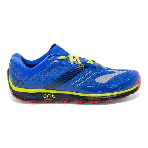 Mens Brooks PureGrit 5 Running Shoe - Blue/Green 7.5