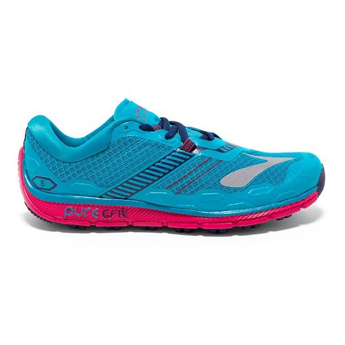 Womens Brooks PureGrit 5 Running Shoe - Peacock Blue/Virtual 12