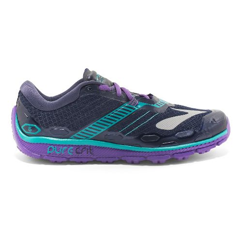Womens Brooks PureGrit 5 Running Shoe - Grey/Purple 8.5