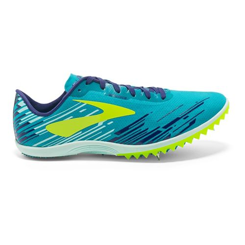 Womens Brooks Mach 18 Cross Country Shoe - Blue/Safety Yellow 9