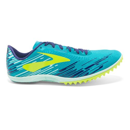Womens Brooks Mach 18 Spikeless Cross Country Shoe - Blue/Safety Yellow 9