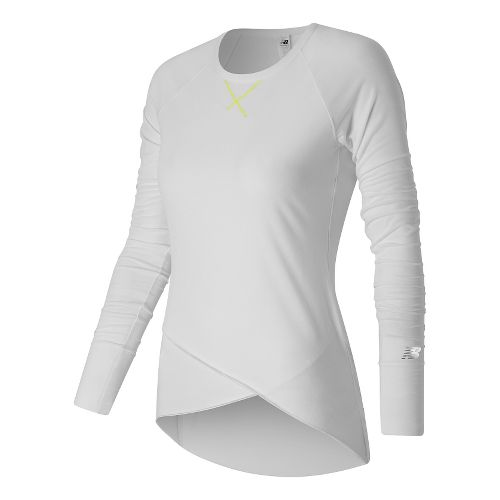 Womens New Balance Thats A Wrap Tee Long Sleeve Technical Tops - White S