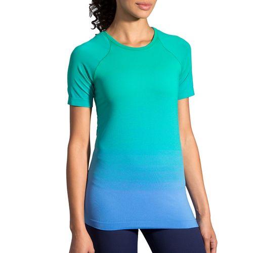 Womens Brooks Streaker Short Sleeve Technical Tops - Wave/Parquet L