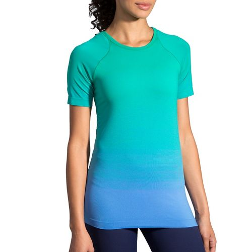Womens Brooks Streaker Short Sleeve Technical Tops - Wave/Parquet M