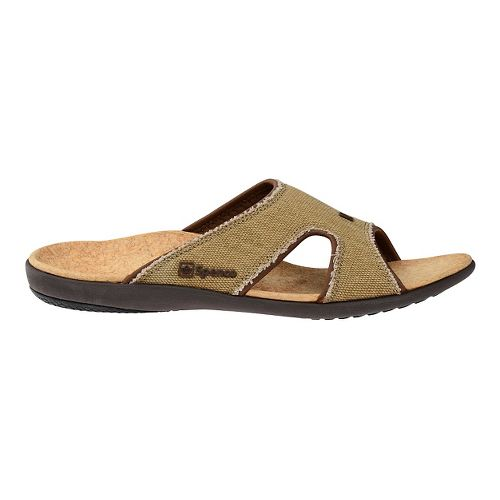 Mens Spenco Kholo Canvas Slide Sandals Shoe - Beige/Cork 12