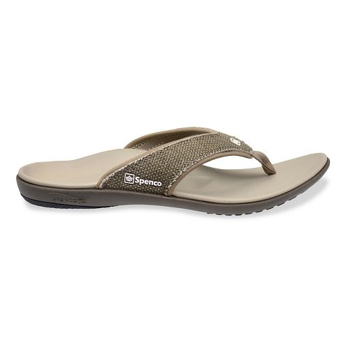 Mens Spenco Yumi Canvas Sandals Shoe - Light Grey 10