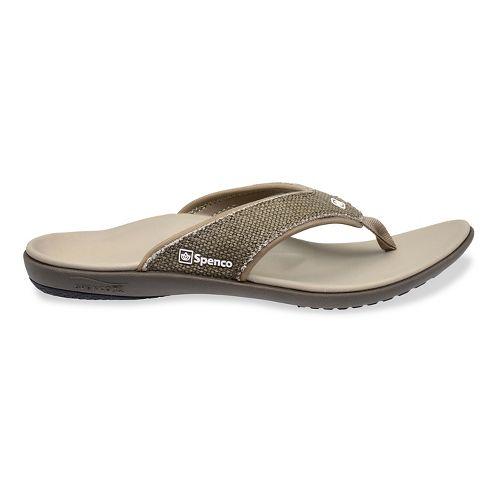 Mens Spenco Yumi Canvas Sandals Shoe - Light Grey 11