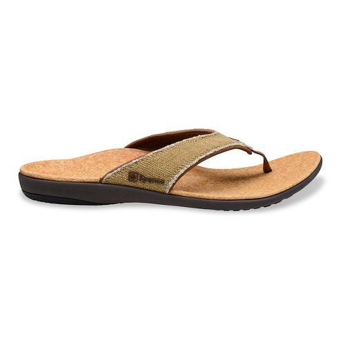 Mens Spenco Yumi Canvas Sandals Shoe - Beige/Cork 10