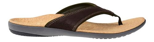 Mens Spenco Yumi Leather Sandals Shoe - Dark Brown 9