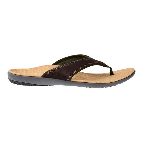 Mens Spenco Yumi Leather Sandals Shoe - Dark Brown 9