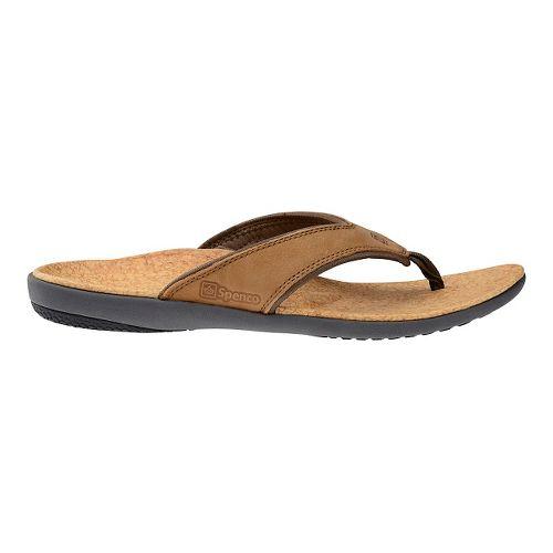 Mens Spenco Yumi Leather Sandals Shoe - Medium Brown 11