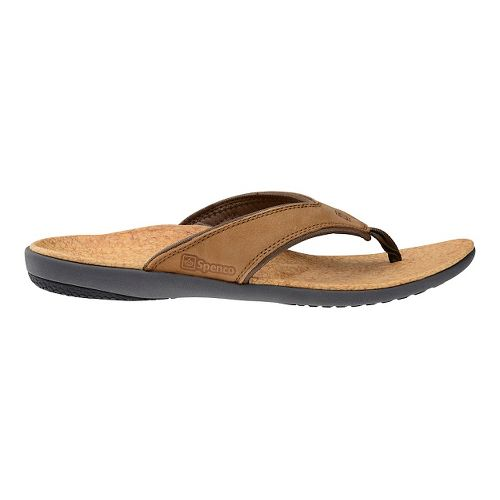 Mens Spenco Yumi Leather Sandals Shoe - Medium Brown 9