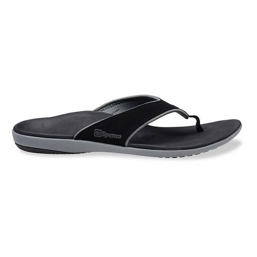 Mens Spenco Yumi Sandals Shoe - Black/Grey 14