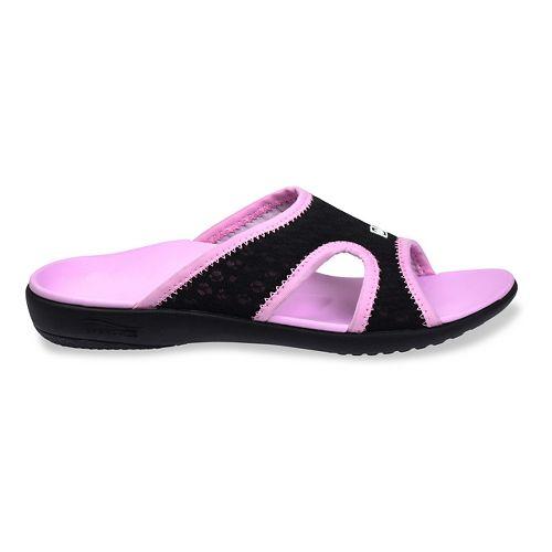 Womens Spenco Breeze Slide Sandals Shoe - Black/Pink 5