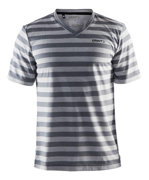 Mens Craft Basic Tee Short Sleeve Technical Tops - Grey Melange/Stripes XL