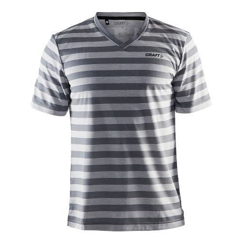 Mens Craft Basic Tee Short Sleeve Technical Tops - Grey Melange/Stripes L