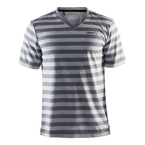 Mens Craft Basic Tee Short Sleeve Technical Tops - Grey Melange/Stripes S