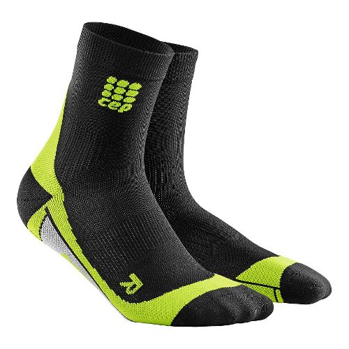 Mens CEP Dynamic+ Compression Short Socks 2.0 Injury Recovery - Black/Green L