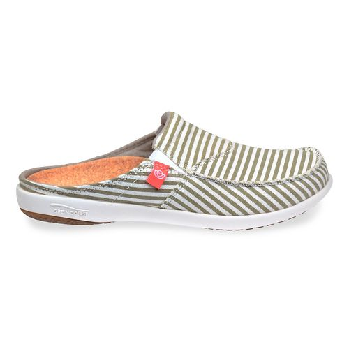Womens Spenco Montauk Slide Casual Shoe - Khaki Stripe 9