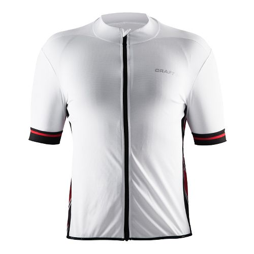 Mens Craft Classic Jersey Short Sleeve Technical Tops - White/Black/Red XL