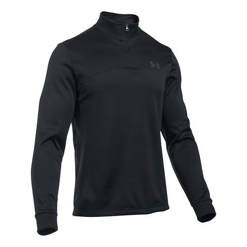 Mens Under Armour Fleece Icon 1/4 Zip Long Sleeve Technical Tops - Black/Stealth Grey LR ...