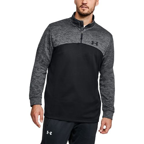 Mens Under Armour  Fleece Icon 1/4 Zip Long Sleeve Technical Tops - Black/Black 3XL