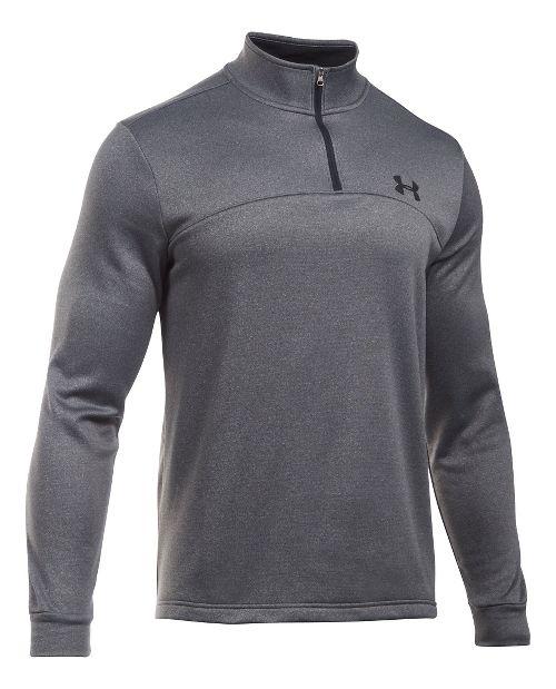 Mens Under Armour Fleece 1/4 Zip Long Sleeve Technical Tops - Navy/Graphite XXL