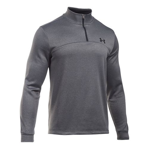 Mens Under Armour Fleece Icon 1/4 Zip Long Sleeve Technical Tops - Carbon Heather/Black XXLR ...