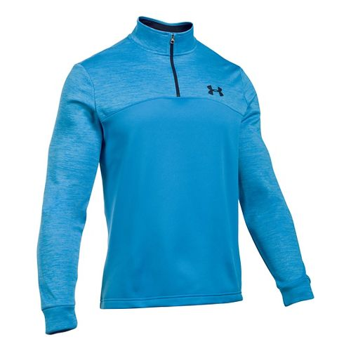 Mens Under Armour Fleece Icon 1/4 Zip Long Sleeve Technical Tops - Brilliant Blue/Black XXLR ...