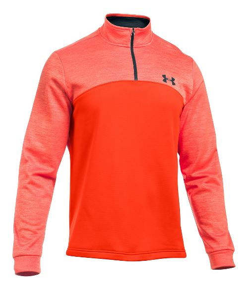 Mens Under Armour Fleece 1/4 Zip Long Sleeve Technical Tops - Black/Red L