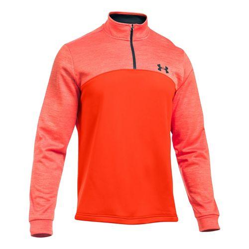 Mens Under Armour Fleece Icon 1/4 Zip Long Sleeve Technical Tops - Dark Orange/Black XLR ...