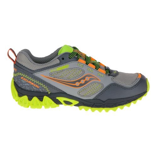 Kids Saucony Excursion Shield Hiking Shoe - Grey/Citron 2.5Y