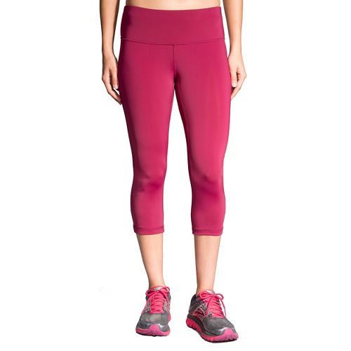Womens Brooks Go-To Capris Pants - Sangria/Poppy S