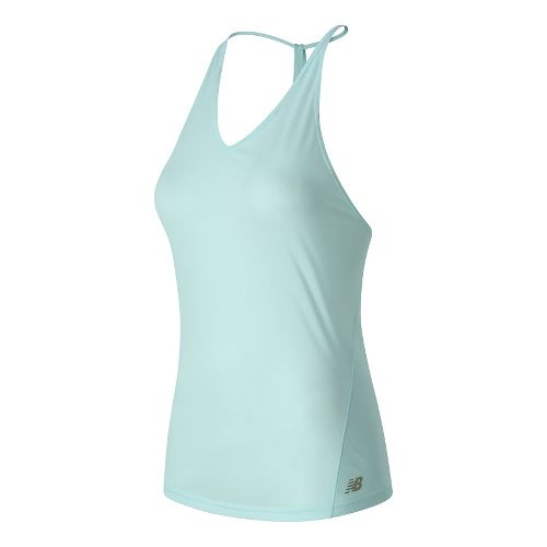 Womens New Balance Free Flow Tanks Technical Tops - Light Green S