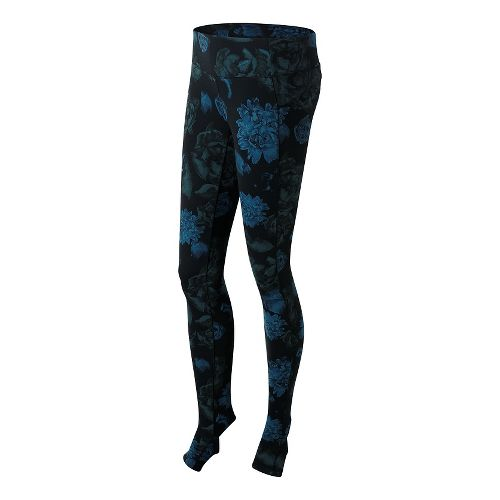 Womens New Balance Printed Studio Tights & Leggings Pants - Black/Purple XS