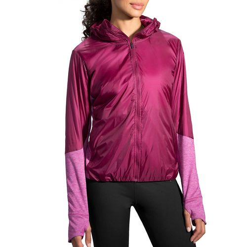 Womens Brooks LSD Thermal Cold Weather Jackets - Sangria/Heather S