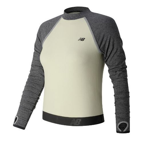 Womens New Balance Sport Style Cropped Long Sleeve Technical Tops - Angora XS